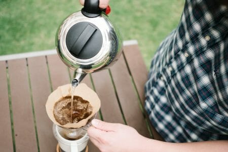 pouring water into the pour over