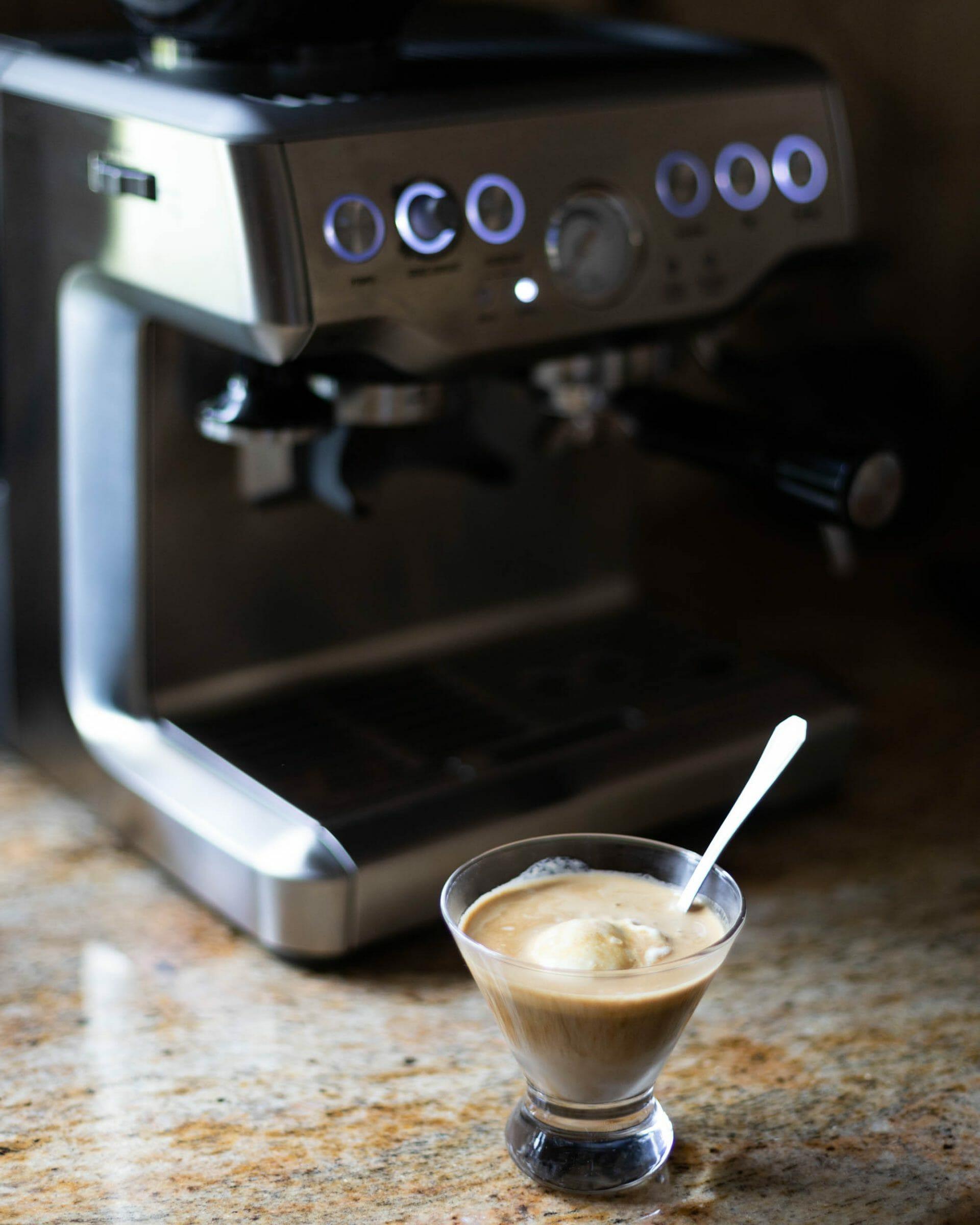 Perk Coffee Affogato with Breville espresso machine